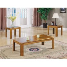 Three-piece Casual Occasional Oak Table Set