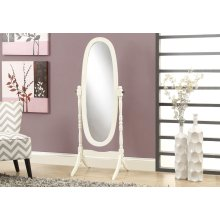"""MIRROR - 59""""H / ANTIQUE WHITE OVAL WOOD FRAME"""