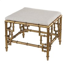 STOOL WITH BAMBOO FRAME IN GOLD LEAF AND LINEN SEAT