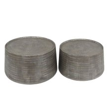 S/2 Accent Tables, Antique Silver