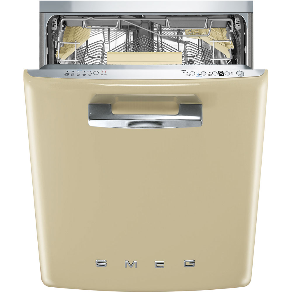 """SmegApprox 24"""" Pre-Finished Under-Counter Dishwasher With 50's Style Retro Handle, Cream"""