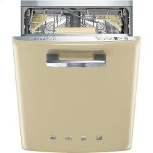 """Approx 24"""" Pre-finished Under-Counter Dishwasher with 50'S Style Retro handle, Cream"""