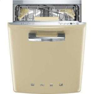"SmegApprox 24"" Pre-finished Under-Counter Dishwasher with 50'S Style Retro handle, Cream"