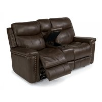 Grover Leather Power Reclining Loveseat with Console Product Image