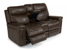 Grover Leather Power Reclining Loveseat with Console
