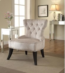 Colton Vintage Style Button Tufted Velvet Chair With Nailhead Detail and Spring Seat In Brilliance Parchment Cream Fabric