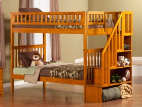 Woodland Staircase Bunk Bed Twin over Twin in Caramel Latte