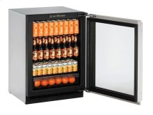 "2000 Series 24"" Glass Door Refrigerator With Stainless Frame (lock) Finish and Left-hand Hinged Door Swing"