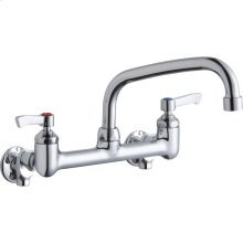 """Elkay Foodservice 8"""" Centerset Wall Mount Faucet with 8"""" Arc Tube Spout 2"""" Lever Handles 1/2in Offset Inlets Chrome"""