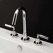 Deck-mount three-hole faucet with a goose-neck swiveling spout, two lever handles, and a pop-up drain.