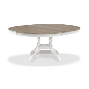 Hillsdale FurnitureRockport Round Extension Dining Table - White With Driftwood Top