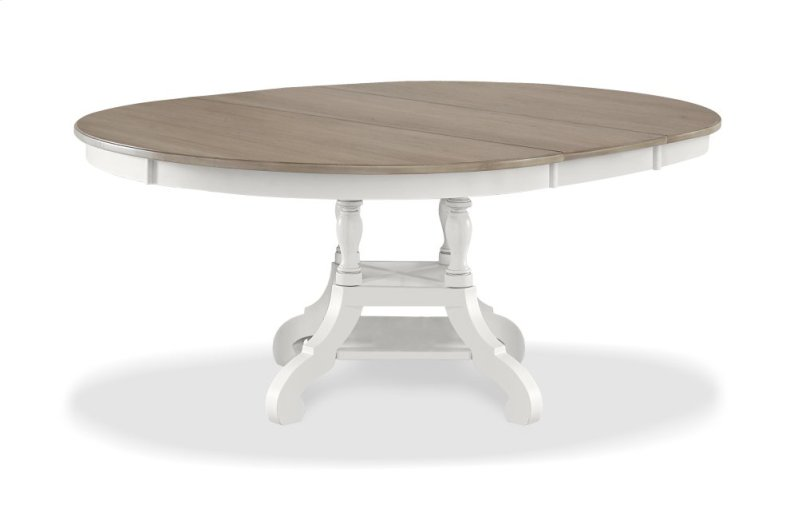 4811dt In By Hilale Furniture Claflin Ks Rockport Round Extension Dining Table White With Driftwood Top