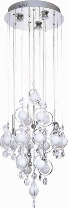 Crystal Ceiling Lamp, C/crystals, Jc/g4 20wx9&led Gu10 3wx3