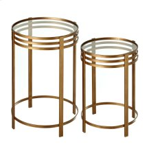 2 pc. set. Antique Gold Linear Side Table with Tempered Glass Top.