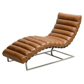 Cavett PU Chaise Lounge Brushed Stainless Steel Base, Distressed Caramel