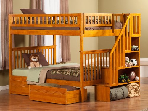 Woodland Staircase Bunk Bed Full over Full with Flat Panel Bed Drawers in Caramel Latte