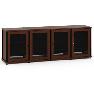 Salamander DesignsSynergy Solution 347, Quad-Width AV Cabinet, Walnut with Black Posts