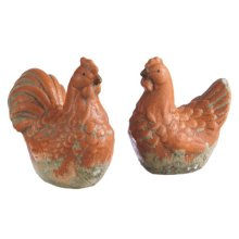 Mini Rooster and Hen Figure (2 asstd)