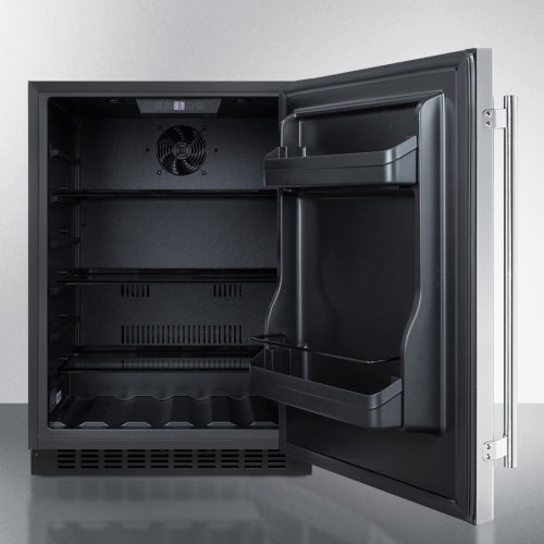 Built-in Undercounter ADA Compliant All-refrigerator With Stainless Steel Door, Black Cabinet, Door Storage, Lock, and Digital Controls