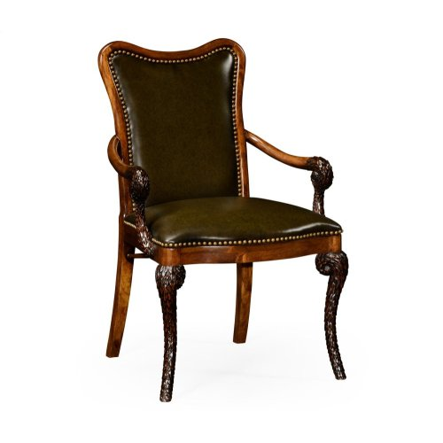 """Medium English Library Green Leather Upholstered """"Pangolin"""" Armchair"""