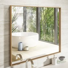 Wall-mount mirror in wooden or metal frame.