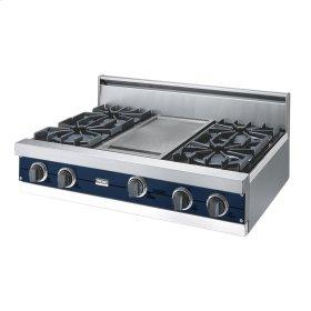"""Viking Blue 36"""" Open Burner Rangetop - VGRT (36"""" wide, four burners 12"""" wide griddle/simmer plate)"""