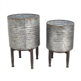 S/2 Tin Planters On Stands