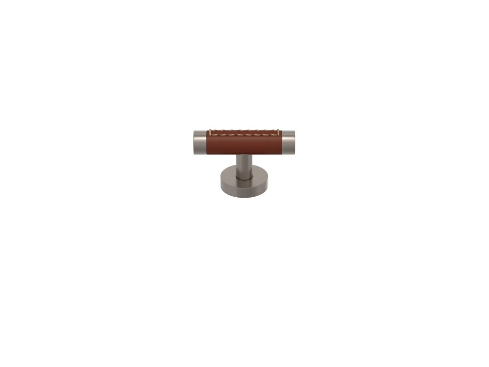 Barrel Stitch Out Cabinet T-bar Turning Recess Leather In Chestnut And Satin Nickel