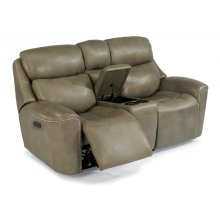 Mystic Leather Power Reclining Loveseat with Console and Power Headrests