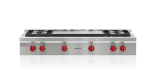 "Wolf48"" Sealed Burner Rangetop - 4 Burners And Infrared Dual Griddle"