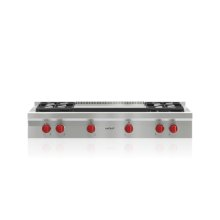 """48"""" Sealed Burner Rangetop - 4 Burners and Infrared Dual Griddle"""