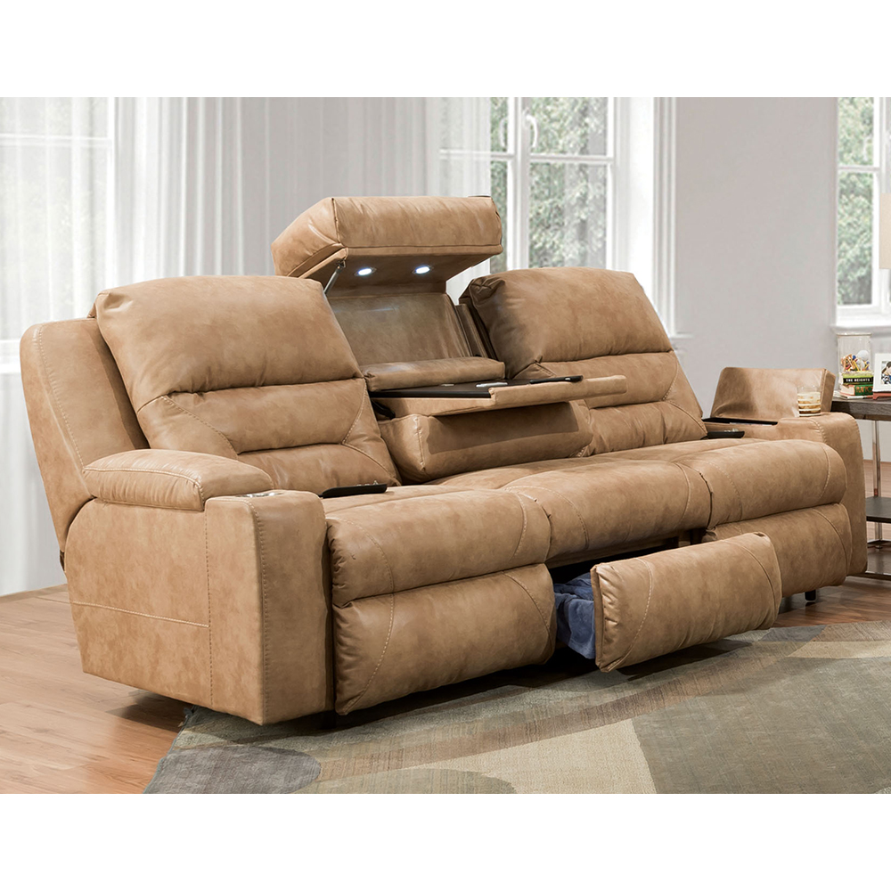 Power Recline / Power Headrest / Power Lumbar Reclining Sofa W/Wand / Fold  Down