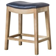 Elmo Bonded Leather Counter Stool Weathered Smoke Legs, Vintage Blue