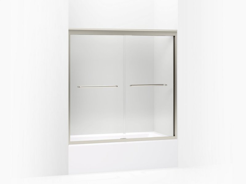 Crystal Clear Gl With Brushed Nickel Frame Sliding Bath Door 58 5 16
