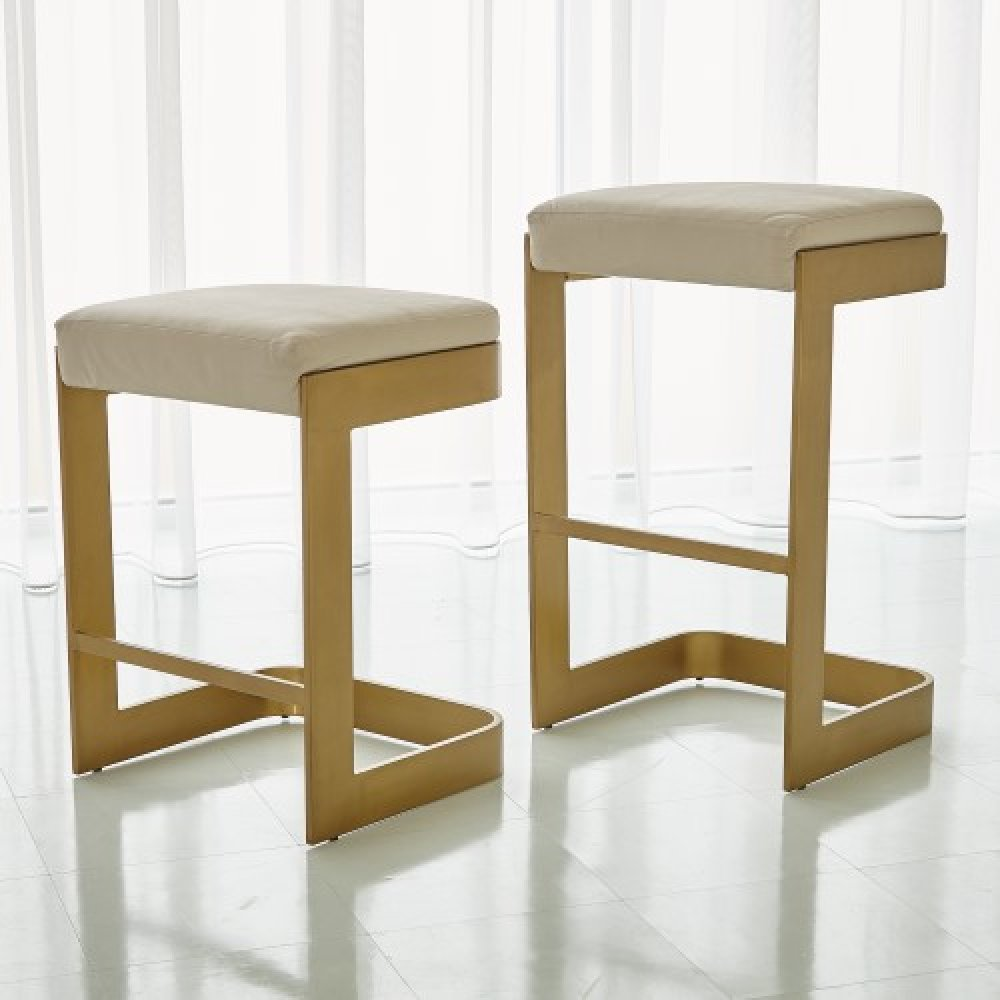 Regan High Bar Stool w/Ivory Leather-Antique Brass