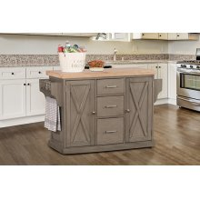 Brigham Kitchen Island Gray - Natural