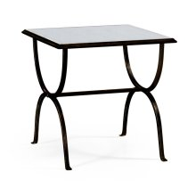 glomise & Bronze Iron Square Side Table