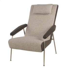 Zephyr Fabric Arm Chair Brushed Nickel Frame, Ellie Gray
