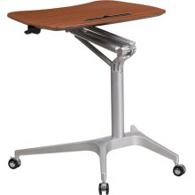 Mobile Sit-Down, Stand-Up Mahogany Computer Ergonomic Desk with 28.25''W Top (Adjustable Range 29'' - 41'')