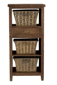 Signature 3 Basket Stand With 1 Drawer - Oak