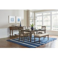 STANDARD 18721-18724-18725 Larson Leg Table With 18 Inch Leaf, 4 Side Chairs & Bench