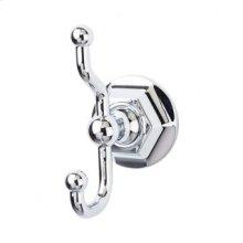 Edwardian Bath Double Hook Hex Backplate - Polished Chrome