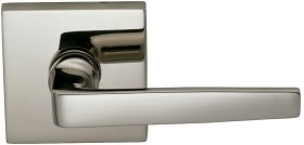 Interior Modern Lever Latchset with Square Rose in (US14 Polished Nickel Plated, Lacquered)