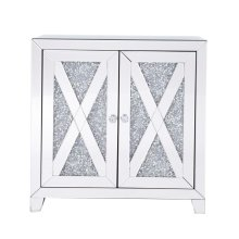 28 in silver crystal mirrored two door cabinet