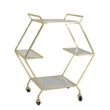 Metal & Marble Bar Cart, Gold