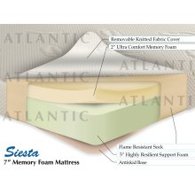 "Siesta Memory Foam Mattress 7"" Twin XL"