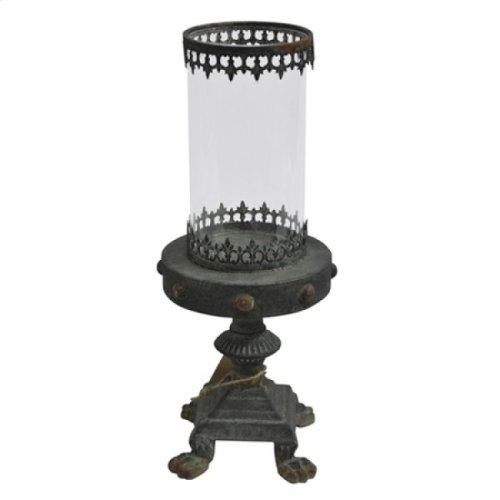 Glass Candle Holder with Iron Stand