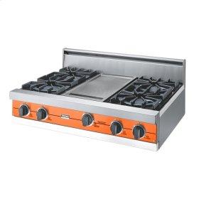 "Pumpkin 36"" Open Burner Rangetop - VGRT (36"" wide, four burners 12"" wide griddle/simmer plate)"