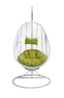 Complete Swing Basket W/cushion-frame-base Spunpolyester Green #e003 White Wicker Frame
