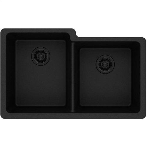 "Elkay Quartz Classic 33"" x 20-1/2"" x 9-1/2"", Offset Double Bowl Undermount Sink, Black"